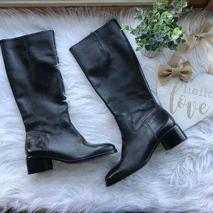 Lauren Ralph Lauren Black Tall Zip Leather Boots
